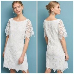 Anthropologie Charleston Lace Mini Dress White